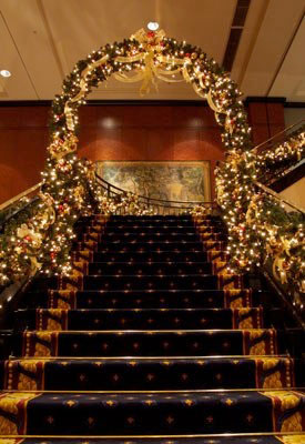 The Westin Tokyo Christmas arch on staircase after